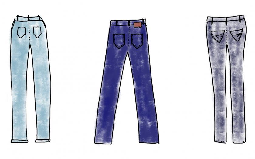 3 gezeichnete jeans