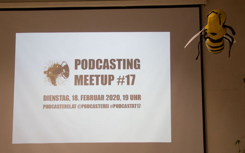 Podcasting Meetup-Slide am Beamer