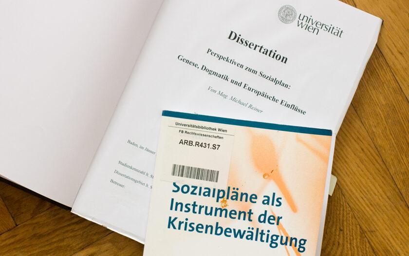 """Dissertation """"Perspektiven zum Sozialplan"""" und """"Sozialpläne als Instrument der Krisenbewältigung"""
