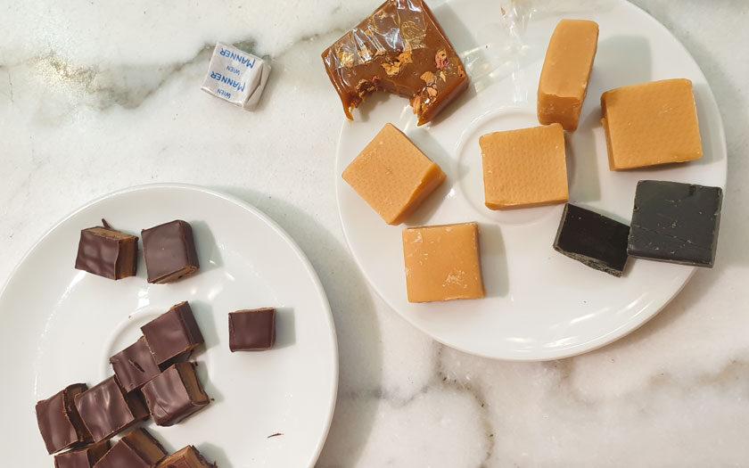 Karamellschokolade, Rahmkaramell, Lakritzkaramell, Salzkaramell, Manner Stollwerk